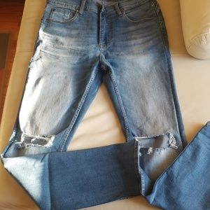 Hudson Distressed Relax Skinny Blue Jeans